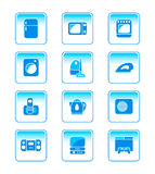 Home electronics icons. Modern home electronics icon-set in blue Stock Photo
