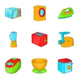 Home electronics icons set, cartoon style Stock Photo