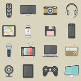 Home electronics icons set. Home electronics flat icons set. Vector illustration Royalty Free Stock Photos