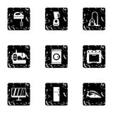Home electronics icons set, grunge style. Home electronics icons set. Grunge illustration of 9 home electronics vector icons for web royalty free illustration