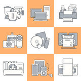 Home electronics icons set Stock Images