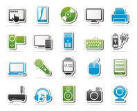 Home electronics and personal multimedia devices icons Royalty Free Stock Image