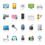 Home electronics and personal multimedia devices icons Stock Photography