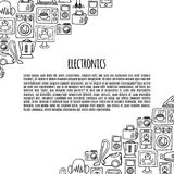 Home electronics sketch icons vector  banner. Stock Image