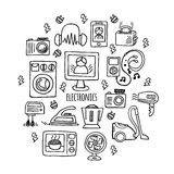 Home electronics sketch vector circle. Stock Images