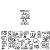 Home electronics sketch vector horizontal banner. Home electronics sketch icons isolation white background vector horizontal banner. Electronics vector Royalty Free Stock Images