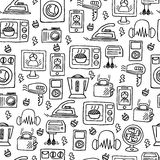 Home electronics sketch vector seamless pattern. Stock Images