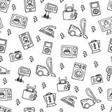 Home electronics sketch vector seamless pattern. Stock Image