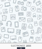 Home Electronics wallpaper. Black and white digital shop seamless pattern. Royalty Free Stock Image