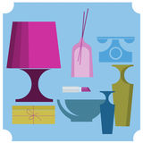 Home elements. With lamp and phone Royalty Free Stock Image