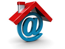 Home email. Conceptual 3d illustration of home email sign Stock Photos