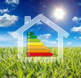 Home energy - consumption wattage. Blue sky and green grass sun royalty free stock photography