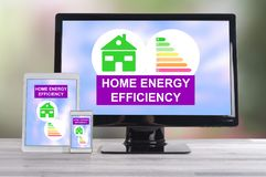 Home energy efficiency concept on different devices. Home energy efficiency concept shown on different information technology devices vector illustration