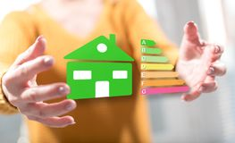 Concept of home energy efficiency. Home energy efficiency concept between hands of a woman in background stock photography