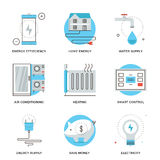 Home energy efficiency line icons set vector illustration