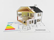 Home Energy saving certificate. Image of a new home with energy saving certificate Stock Photos