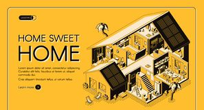 Home engineering company isometric vector website. House construction company isometric vector web banner. Modern cottage storey plan, villa rooms cross section vector illustration