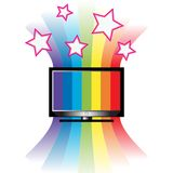 Home entertainment. Illustration of tv with rainbow and stars Stock Photo