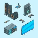 Home entertainment Console isométrico para imagens audio do vetor do computador do teatro dos oradores do portátil da tevê dos jo ilustração do vetor