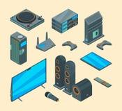 Home entertainment Eletronicamente vetor audio do jogo do console de sistemas da tevê do computador do teatro de casa dos oradore ilustração do vetor