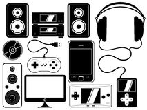 Home entertainment leisure device set Royalty Free Stock Image
