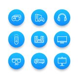 Home entertainment system linear blue icons set. Virtual reality glasses, multimedia projector, 3d, audio speakers, game console Stock Image