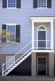 Home entrance. View of front stairs and entrance to a purple modern home Royalty Free Stock Images