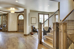 Home Entrance and Foyer. View of home's foyer and entrance with wood floors Royalty Free Stock Images