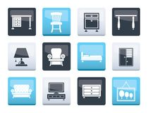 Home Equipment and Furniture icons over color background. Vector icon set royalty free illustration