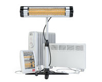 Home equipment for heating, halogen or infrared, con, quar Stock Images