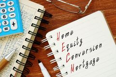 Home Equity Conversion Mortgage HECM phrase on the piece of paper