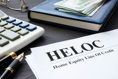 Home equity line of credit HELOC documents. royalty free stock images