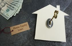 Home equity loan. Tag with paper house, key and cash royalty free stock photo