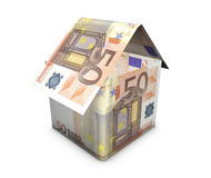 Home And Euro Concept. House icon shaped with euro banknotes on white background. Real estate and money concept Stock Photos