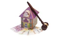 Home, euro money and gavel Stock Photos