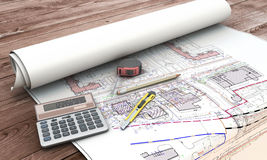 Home extension blueprint plan and tools Royalty Free Stock Images