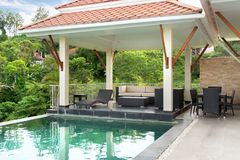 Home exterior design pavilion of pool villa royalty free stock photos