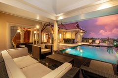 Home exterior design pavilion of pool villa royalty free stock images