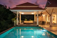 Home exterior design pavilion of pool villa stock photo
