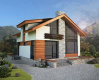 Home Exterior. Of House with Landscaping Stock Photos