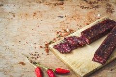A HOME fêz o salami imagens de stock royalty free
