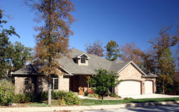 Home in fall. A beautiful home against a clear, bright, blue sky, with fall colors on the trees in the yard Royalty Free Stock Photos