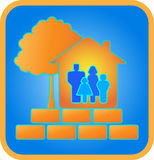 Home, family, brick and wood. Sign family in house, bricks and tree Royalty Free Stock Photos