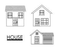 Home family. House with door and windows. silhouette design Stock Image