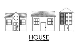 Home family. House with door and windows. silhouette design Royalty Free Stock Photos