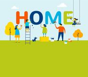 Home - family is painting letters, concept design with kids, mother and father, summer outdoor scene. Home - family is painting letters, concept design with Stock Photo