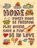 Home family relations icons color feelings poster Stock Image