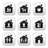 Home, family vector buttons set Royalty Free Stock Image