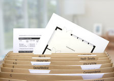 Home filing dividers showing mortgage statements Stock Images