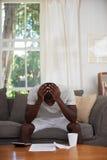 Home finance debt man Stock Photos